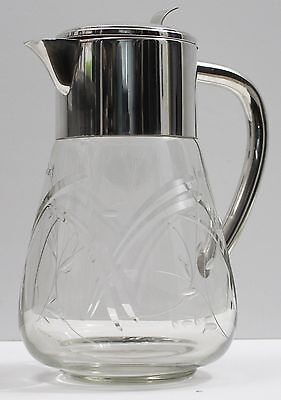 Vintage German WMF Etched Glass Silver Plate Ice Tea Lemonade Water Pitcher Jug
