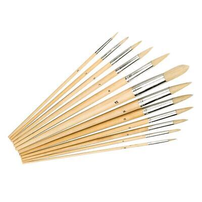 Silverline 12Pc Pointed Tips Artists Paint Brush Set Hobby Models Paints 675298
