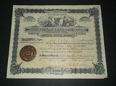 1886 Ithaca New York  Stock Certificate   - THE ITHACA LAND COMPANY  - $100.00