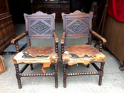 Pair of Victorian Carved Oak Armchairs