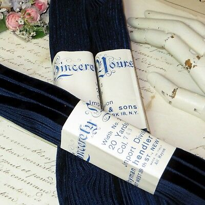 "20y BOLT 3/8"" FRENCH NAVY BLUE VELVET RIBBON DOLL DRESS VTG ANTIQUE TRIM HAT"