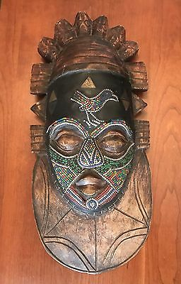 Antique Wooden Beaded Hand Carved/Crafted African Mask