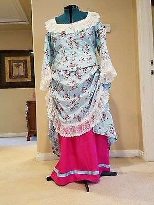 Victorian bustle dress in Blue and pink cotton