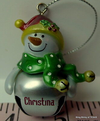 CHRISTINA Jingle Bell Ganz Snowman Name Ornament