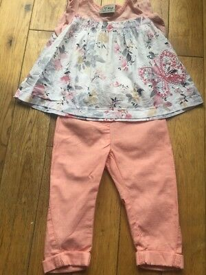 Baby Girls Next 2 Piece Outfit Set. Summer Top And Trousers 9-12 Months