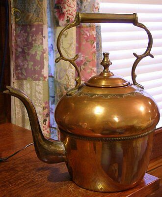 "Vintage 14"" Moroccan Brass & Copper Water Kettle Teapot Goose Neck Spout Morocco"