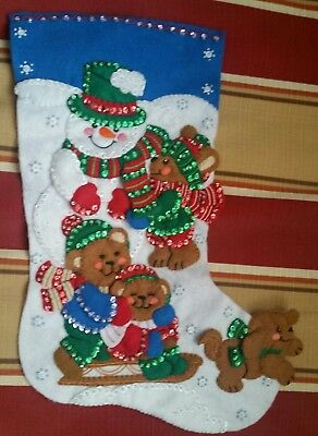 """Finished Bucilla """" Fun in the Snow 16"""" Christmas Stocking - Handstitched"""
