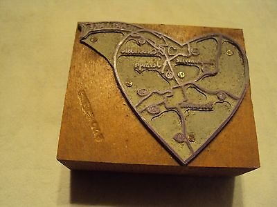 Vintage Heart Lake Pa Map Letterpress Printing Block Carbondale Pa Tompkinsville