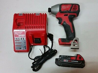 "Milwaukee 2656-20 Cordless  M18 1/4"" Hex Impact Driver W/ Charger And Battery"