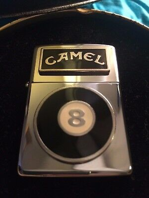 New Zippo Lighter With Tin- Camel Black 8 Ball Unfired Silver Mirror Finish