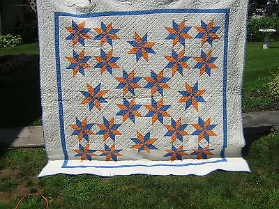 "Antique Applique Star Quilt Cheddar Blue 8 point stars 82"" x 83"""