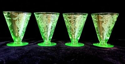 Four American Green Etched Depression Wine Glasses