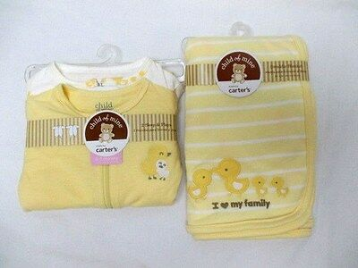 NWT Child of Mine by Carter's Yellow Set Swaddle Blanket 2 Sleepers 0-3 (7-204)