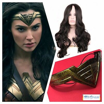 2017 DC Movie Wonder Woman Headband Tiara Diana Princess Costume Crown +WIG