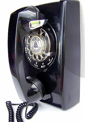Western Electric 554 Black Rotary Dial Wall Phone Reconditioned Vintage