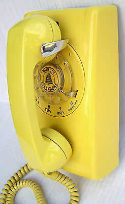 Western Electric 554 Yellow Rotary Dial Wall Phone Reconditioned Vintage