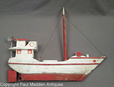 Vintage Folk Made Fishing Boat Weathervane