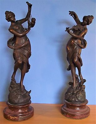 Vintage pair of Spelter Figurines Melody and Symphony