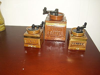 Vintage Instant Coffee Grinders Salt and Pepper Shakers W/Matching Sugar Bowl