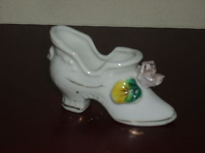 Vintage White Porcelain Shoe With Flowers Japan