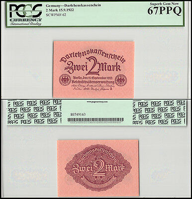 Germany 2 Mark, 1922, P-62, UNC, PCGS 67 PPQ