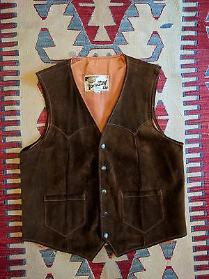Vintage Jo-O-Kay Men's Brown Suede Leather Vest Snap Button Cowboy Western Usa