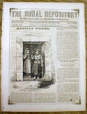 1848 newspaper with a front page PICTURE of MEXICAN WOMEN & text insulting them