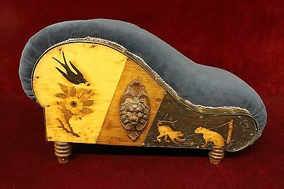 Vintage  Foot Stool Wood carved applied Decorations