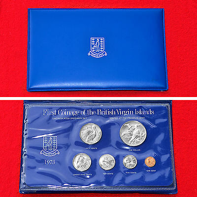 British Virgin Islands 1973 First Official Coinage Unc Set+Box+.925 Silver Dol