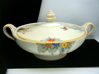 Burleigh Ware Covered Bowl Garden Scene Flowers
