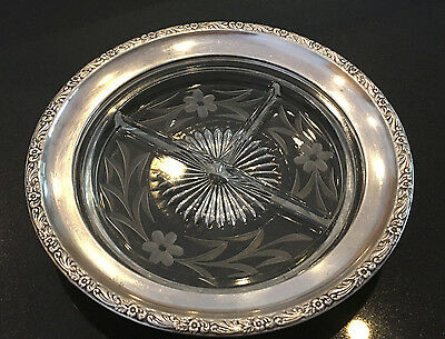 (12) Sterling silver rimmed crystal relish dish