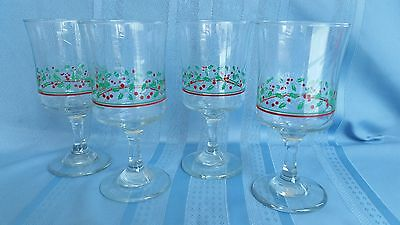 4 Arby's Holly & Berry Christmas / Holiday Water/Wine Stem Glasses