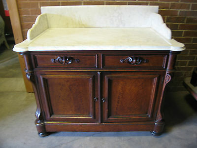 Antique 19th Century Victorian Era Marble Top Server / Large Washstand