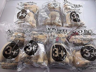 NIP Vintage Lot of 7 Taco Bell Talking Chihuahuas Plush Toy Dogs 1 Doesn't Talk