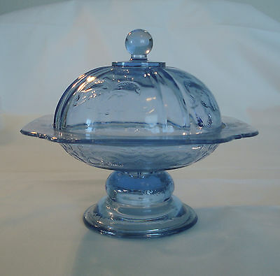 Blue Indiana Glass Footed Dish with Matching Dome Lid