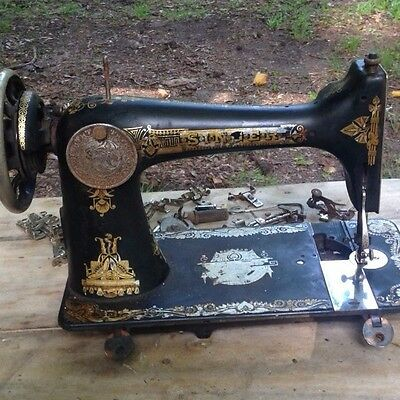 Antique 1910 Singer Model 27 Treadle Sewing Machine Head and Accessories