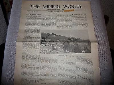 "105 - 1899 ""The Mining World"" Newspaper - Colorado - Arizona - Gold - Silver Ore"
