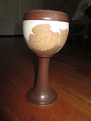 """LARGE GOBLET 8"""" WIZARD OF CLAY Hand Made BRISTOLEAF Studio Art Pottery"""