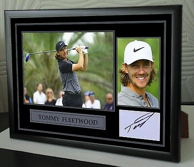 """Tommy Fleetwood 2017 Golf Framed Canvas Tribute Signed """"Great Gift"""""""