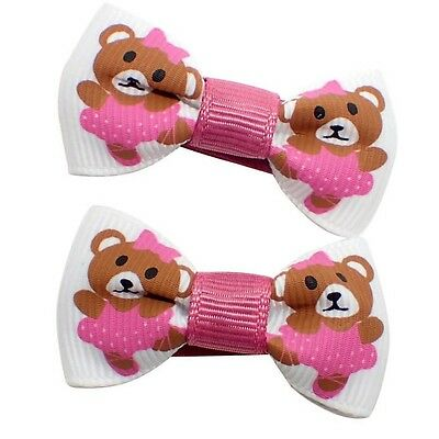 2x BABY GIRLS SMALL HAIR BOW CLIPS PINK BOW HAIR CLIP LITTLE GIRLS BABIES CLIPS
