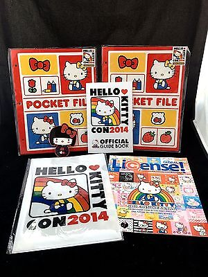 Hello Kitty Con 2014 Lot of Pocket Files, Sticker and Guide Book