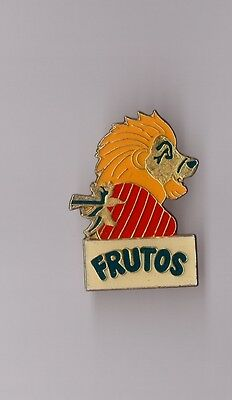 Pin's yaourt / Frutos fraise (lion version fraise rayée) époxy