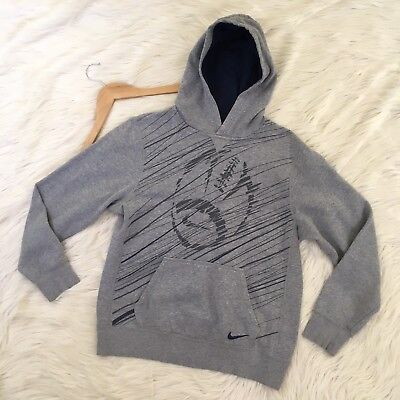 Nike Boys Size XL Football Hoodie Grey Pullover Sweatshirt Cotton Blend Sports