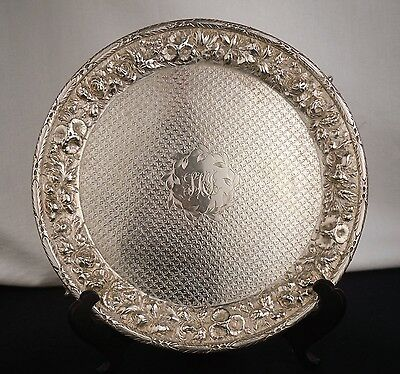 Antique WARNER Baltimore Sterling Silver Card Salver Footed Tray