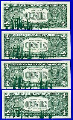 1981 $1 FRN ((Massive INK SMEAR)) (( 4 Consecutive )) GEM UNCIRCULATED