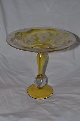 Vintage Pairpoint Glass Ball  Etched Compote