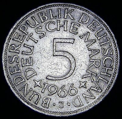 GERMANY (Federal Republic) Silver 1966 J 5 Mark  Coin LOOK