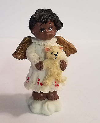 African American, handpainted resin Angel holding teddy bear Figurine