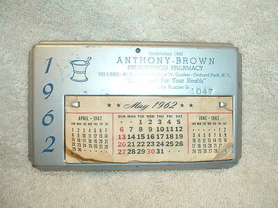 Anthony Brown Prescription Pharmacy Orchard Park New York Vintage 1962 Calendar