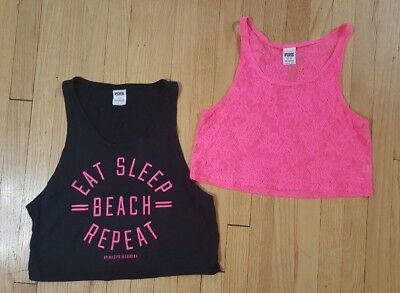 lot of 2 victoria secret pink tank tops size s & xs